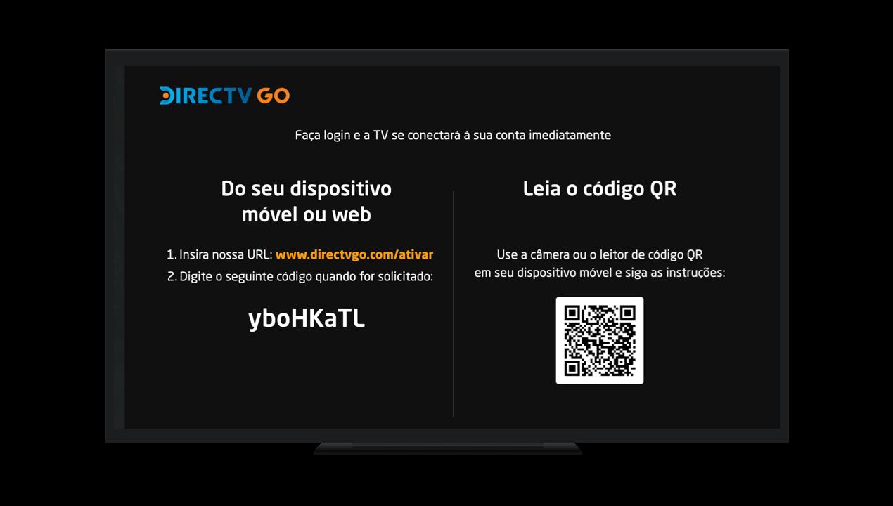 Tela de Login da DIRECTV GO na Smart TV