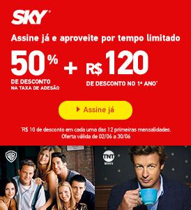 Assine SKY e ganhe 120 reais de desconto nas 12 primeiras mensalidades.