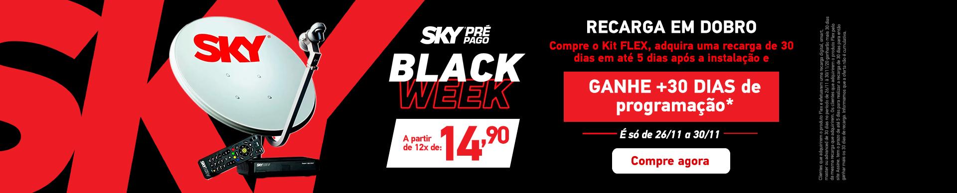 Black Friday Pré-pago, adquira uma recarga de 30 dias e ganhe mais uma de 30 dias. Válido de 26/11 a 30/11.