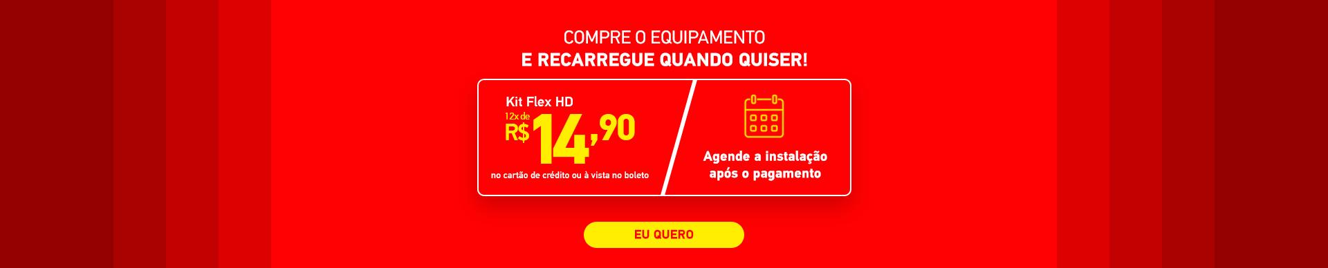 SKY pré-pago, kit flex HD por apenas 12x de 14,90